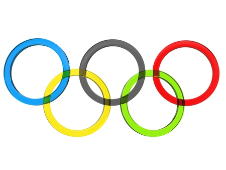 olympic ring: Olympic rings made of glass - 3D Illustration
