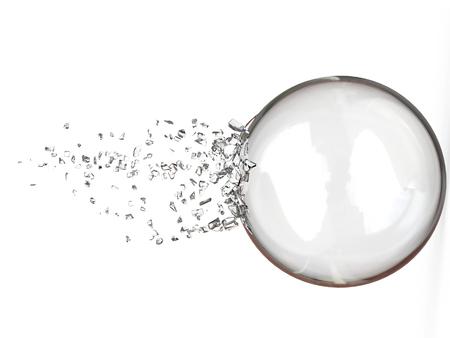 壊れたクリスタル ボール - 側面図 - 3 D イラストレーション