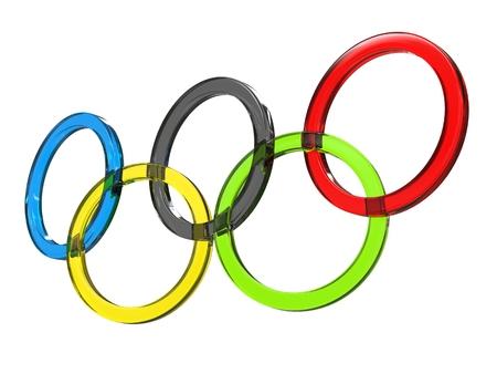 Olympische ringen gemaakt van glas - lage hoek shot - 3D illustratie