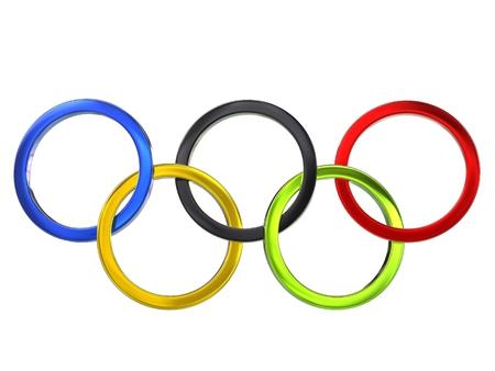 オリンピック リング - 金属 - の 3 D 図 報道画像
