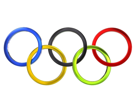 olympic ring: Olympic rings - metallic - 3D Illustration
