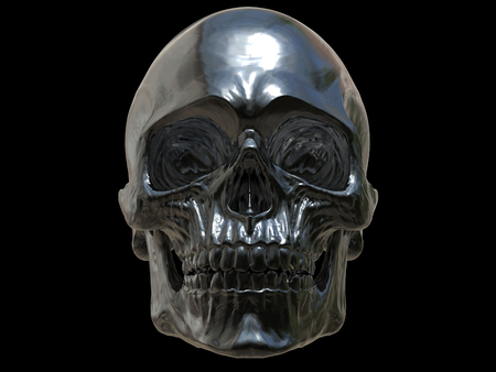 Black metal skull - front view - 3D Illustration