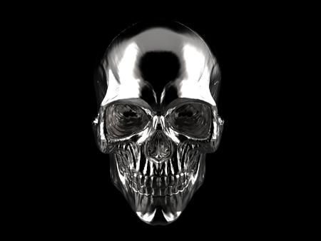 Chromium plated skull - on black background - 3D Illustration