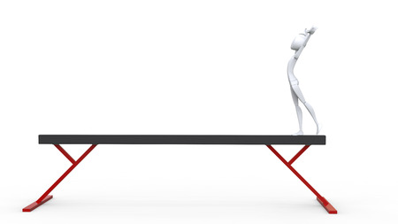 starting position: White gymnast on a balance beam in starting position - 3D Illustration