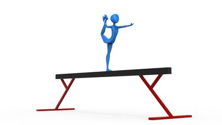 Balance beam gymnast - arabesque dance element - 3D Illustration
