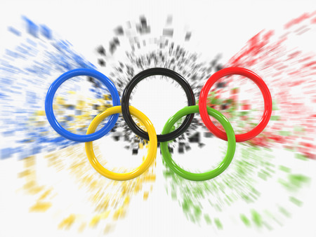 Olympic games rings - zoom pixel effect - 3D Illustration Фото со стока - 62235723