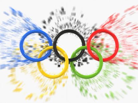 Olympische Spelen ringen - zoom effect pixel - 3D illustratie Stockfoto - 62235723