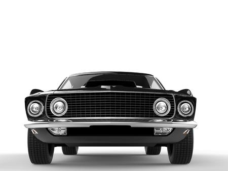 restored: Black muscle car - front closeup shot