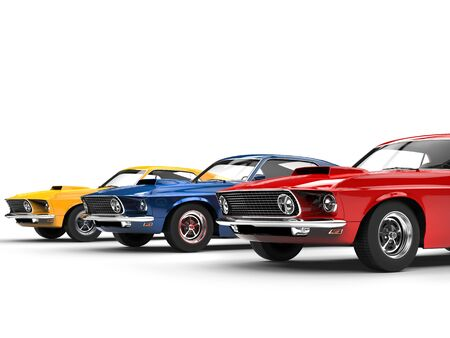 primary colors: Muscle cars in primary colors