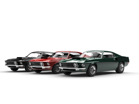 Great Vintage Muscle Cars Side View Stock Photo Picture And