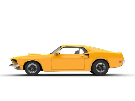 car side: Awesome yellow muscle car - side view