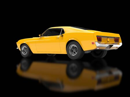 restored: Great yellow muscle car on black reflective background