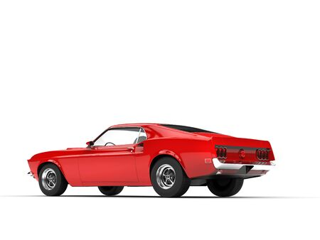 rear view: Awesome red muscle car - rear view