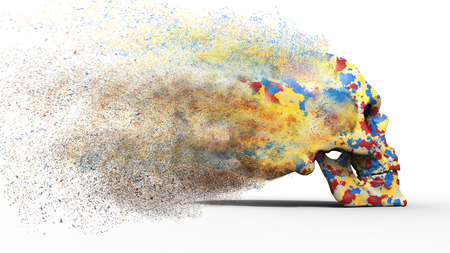 disintegration: Blasted colorful skull Stock Photo