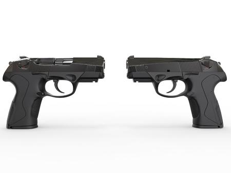 pistols: Two modern black semi-automatic pistols