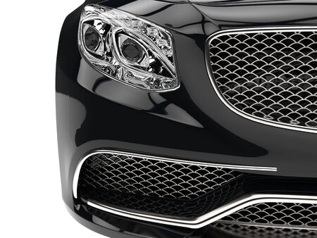 Modern black car - headlight closeup shot Stock Photo