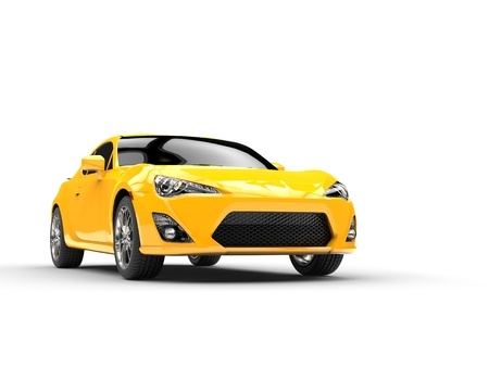 studio shot: Generic yellow sports car  - studio shot