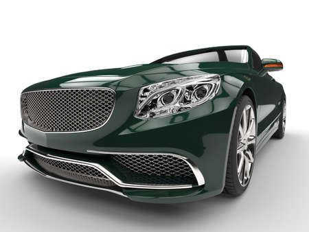 is expensive: Cool green modern expensive car - headlight closep shot