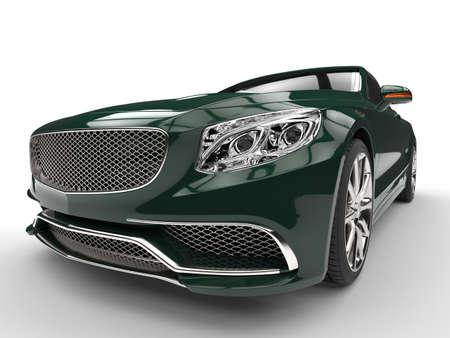Cool green modern expensive car - headlight closep shot