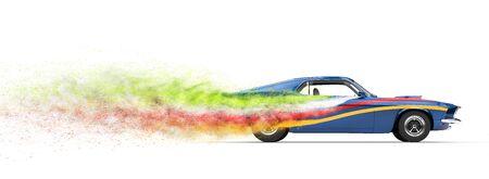 prestige: Cool vintage race car - smoke trails Stock Photo