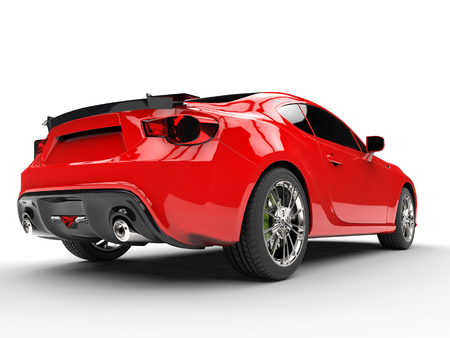 red sports car: Generic red sports car - rear view Stock Photo