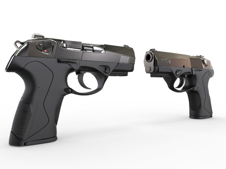 9mm ammo: Two modern black semi-automatic pistols - perspective shot