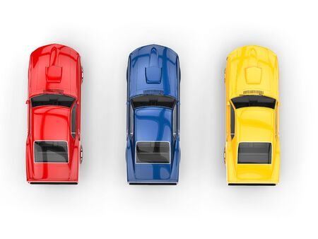 primary colors: Muscle cars - top view - primary colors