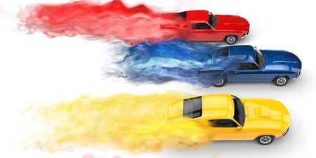 prestige: Muscle cars smoke trails Stock Photo