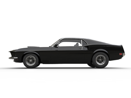 car side: Awesome black muscle car - side view