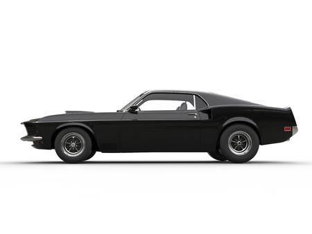 Ehrfürchtig schwarz muscle car - Seitenansicht Standard-Bild - 62272743