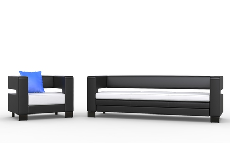 modern sofa: Modern black and white sofa and armchair
