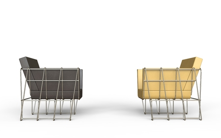 armchairs: Brown and beige modern armchairs