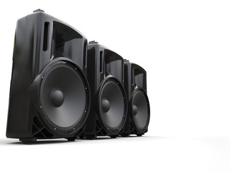 acoustic systems: Three loudspeakers in modern enclosures Stock Photo