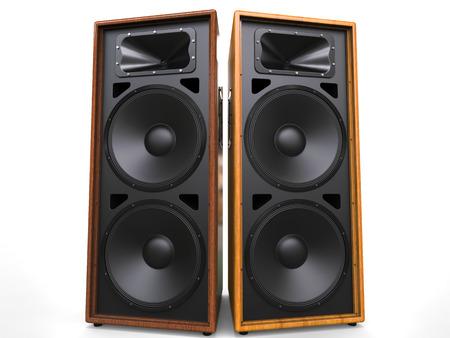 hifi: Cool wooden hifi speakers Stock Photo
