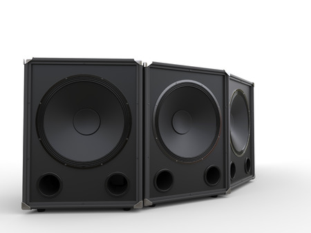 subwoofer: Three black subwoofer speakers Stock Photo