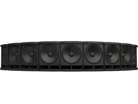 Circle of black subwoofer speakers