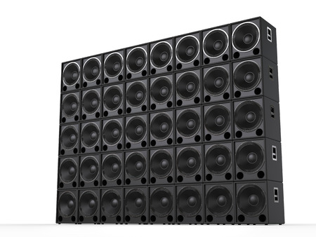 Big wall of hifi subwoofer speakers - side view