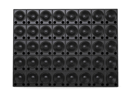 Big wall of hifi subwoofer speakers - front view