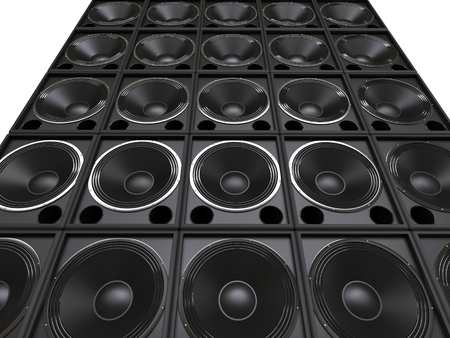 Tower of hifi subwoofer speakers Stock Photo