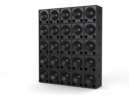 hifi: Hifi subwoofer speakers stacked Stock Photo