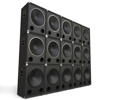 subwoofer: Subwoofer speakers stacked - studio shot Stock Photo