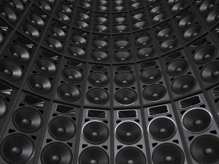 woofer: Tower wall of concert speakers Stock Photo
