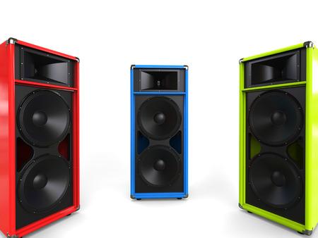 hifi: Red, green and blue hifi speakers