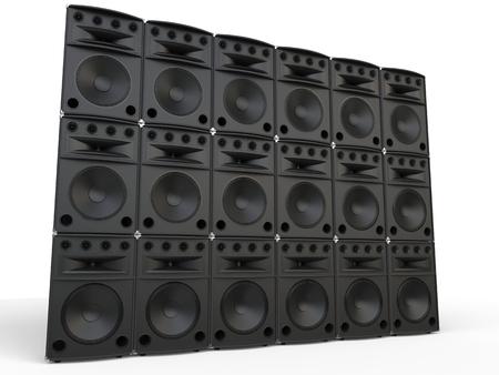 studio shot: Wall of full range loudspeakers - studio shot Stock Photo