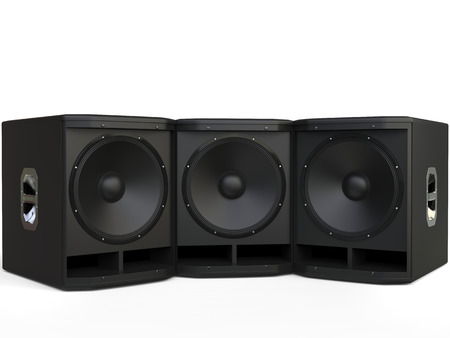 Three small subwoofer speakers