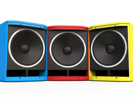 woofer: Red, BLue and Yellow woofer speakers