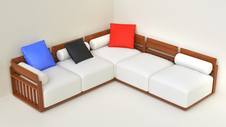 living room furniture: Living room beige furniture set - top view Stock Photo