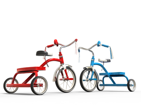 studio shot: Red and blue tricycles - studio shot