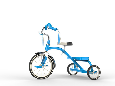 antique tricycle: Blue tricycle - side view Stock Photo