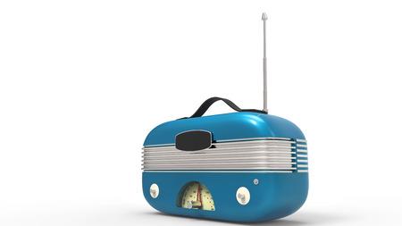 old radio: Metallic blue old radio